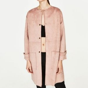 Zara Basic Outerwear Faux Sueded Duster Pink Coat